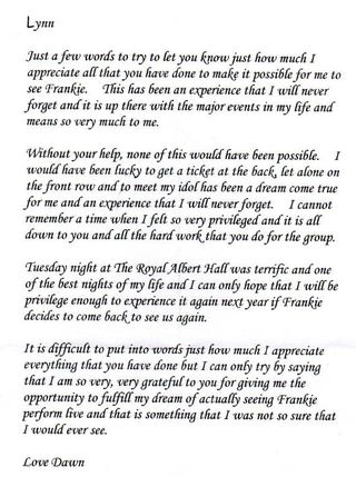 Dawn's letter
