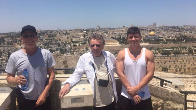 Alan  Frankie and Francesco overlooking Jerusalems Old City