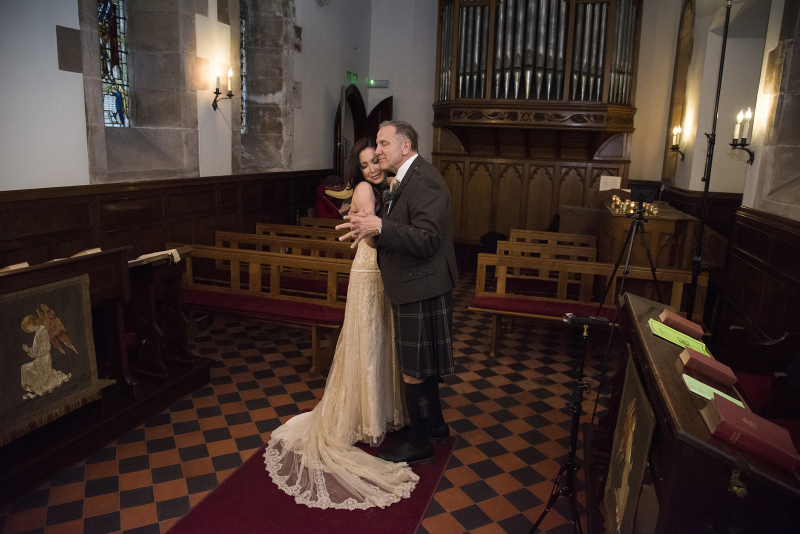 Rhea and Gerry Dancing to Harpist at Cromlix