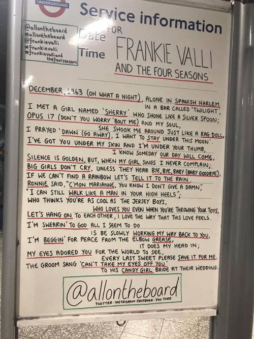 Tube Station Posting re Frankie Valli Show